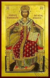 Christ Blessing, King of Kings and Great High Priest, Enthroned - Byzantine Icon