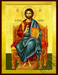 Christ Blessing, Saviour of Souls, Enthroned - Byzantine Icon